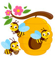 bees flying around a beehive vector image vector image