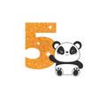 birthday anniversary number with cute panda vector image