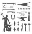 Blacksmith Black White Icons Set vector image