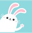 bunny rabbit in corner waving paw print hands vector image vector image