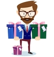 Businessman offering many gifts vector image