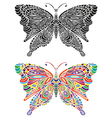 butterfly ornament color and black vector image vector image
