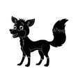 cartoon fox silhouette isolated on white vector image