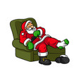 cartoon sleeping santa claus vector image vector image