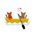 cat lovers ride in boat lover of sailing pet vector image vector image