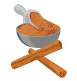 cinnamon sticks and powder in a bowl spice vector image vector image
