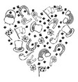 collection of irish symbols outline heart shape vector image vector image