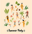 dancing ladyes in swimsuits vector image vector image
