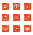 deed icons set grunge style vector image