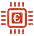euro processor icon grunge watermark vector image vector image