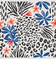 exotic botanical and animal skin pattern vector image