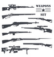 firearm set gun rifle carbine flat design vector image vector image