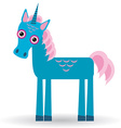 Funny blue unicorn pink mane on a white background vector image vector image