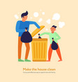garbage cleaning father son vector image