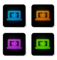 glowing neon shopping basket on screen laptop vector image vector image