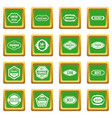 golden labels icons set green vector image vector image