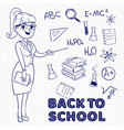 hand drawn female teacher and school vector image vector image