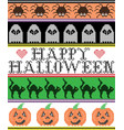happy halloween pattern ghost pumpkin cat vector image