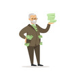 happy rich successful senior businessman character vector image vector image