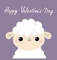 happy valentines day sheep lamb face head icon vector image vector image