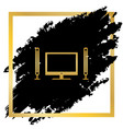 home theater sign golden icon at black vector image