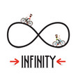 infinity symbol with arrows and people on vector image vector image