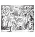 jesus washing the feet of his disciples vintage vector image vector image
