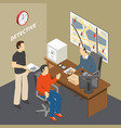 law justice isometric composition vector image vector image