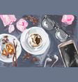mobile gadget glasses headphones coffee cake vector image vector image