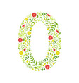 number 0 green floral number made leaves and vector image vector image