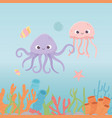 octopus jellyfish starfish life coral reef cartoon vector image