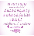 Pink Watercolor Alphabet Hand Drawn Font vector image