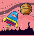 rocket visiting to jupiter planet in the space vector image vector image