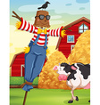 Scene with scarecrow in the farm vector image vector image