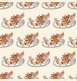 seamless festive pattern with christmas sleigh vector image vector image