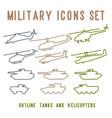 set flat military design vector image