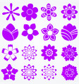 set of flowers floral icons vector image