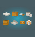 set open and closed carton box delivery packaging vector image vector image