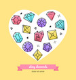 shiny diamonds and jewelry - line design style vector image