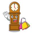 shopping grandfather clock character cartoon vector image