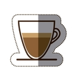 silhouette color sticker with coffee cup close up vector image vector image
