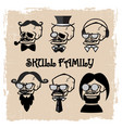 skeletons family vector image