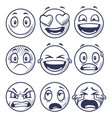 sketch smiles doodle smiley in different emotions vector image vector image
