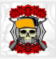 skull wearing hat and weapon with rose vector image vector image