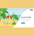 summer vacation landing page template vector image vector image