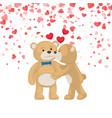 teddy girl kissing and hugging boy postcard vector image
