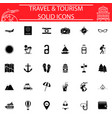 travel solid icon set travel symbols collection vector image