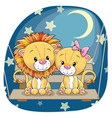 valentine card with lovers lions vector image