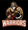 warrior mascot with shield and axe vector image vector image