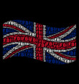 waving united kingdom flag collage of fbi text vector image